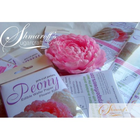 Precut Easy Peony Pail Pink Wafer Paper Flowers